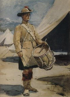 A Highland drummer, Boer War Military Art, Military History, Military Uniforms, British Soldier, British Army, Commonwealth, War Drums, British Uniforms, Laurel And Hardy