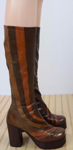 Vtg 1970's Wooden Platform Boots
