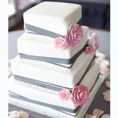 White and Grey Wedding Cake -  Ettore's European Bakery & Restaurant