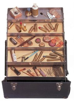 Marilyn Monroe's make-up box. Sold by Christie's in 1999 for $266,500 contained: 3 Max Factor lipsticks, 2 Elizabeth Arden cream eyeshadows, 2 Elizabeth Arden Eye Stopper eyeliners (one brown and one black), 1 Leichner of London eyeshadow, 2 bottles of Revlon nail polish, Glorene of Hollywood eyeliner and false eyelashes, 2 bottles of perfumed lotion by Shisheido, Anita d'Foged Day Dew cream makeup and cover up, and 2 pots of Erno Lazlo makeup