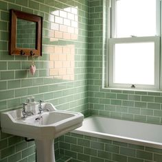 Green Bathroom Tiles Design - Are you in need of bathroom design ideas? Retro Bathrooms, Traditional Bathroom, Bathroom Style, Green Bathroom, Bathroom Styling, Green Subway Tile, Mint Green Bathrooms, Green Tile Bathroom, Bathroom Design
