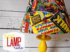 Absolutely love this.  The fabric is to. die. for.  Lamp makeover, boy style.  Must make for lalos room!! Maybey cut up old tees?:)