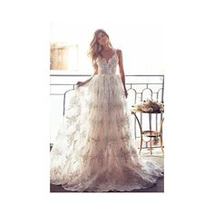 Full Lace Backless Beach Wedding Dresses Sexy Spaghetti Straps Summer... ($220) ❤ liked on Polyvore featuring dresses and wedding dresses