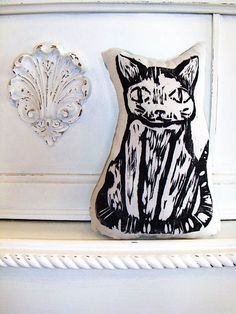 Plush Black Cat Pillow. Woodblock Printed. Customizable Colors. Made to Order.. $16.50, via Etsy.