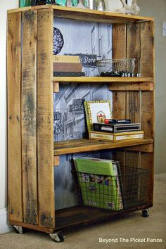Rustic Industrial Shelf made with pallet wood. http://bec4-beyondthepicketfence.blogspot.com/2015/04/rustic-industrial-bookshelf.html