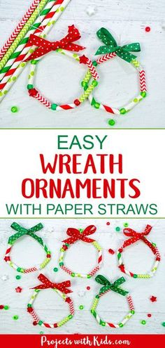 These wreath ornaments with paper straws are the perfect colorful addition to any Christmas tree. An easy and fun Christmas craft for kids of all ages. kids christmas crafts easy Easy Kid Made Wreath Ornaments with Paper Straws Paper Ornaments, Ornament Crafts, Diy Christmas Ornaments, Christmas Fun, Christmas Tree Decorations For Kids, Christmas Card Ideas With Kids, Christmas Activities For Children, Christmas Crafts For Kids To Make At School, Simple Christmas Crafts