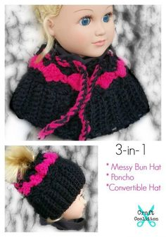 My Dolly Surf Song 3-in-1 messy bun hat, poncho, converible free crochet pattern by Mistie Bush on CraftCoalition.com http://www.craftcoalition.com/my-dolly-surf-song-convertible-3-in-1/