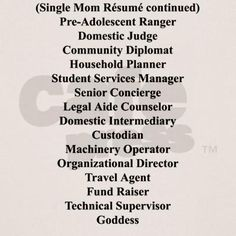 Single mom resume (back)