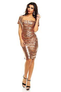 Kobber kjole med paljetter Nine