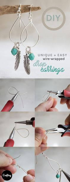 This tutorial shows you how to make beautiful wire-wrapped drop earrings using four inches of wire and unusual tools. https://www.craftsy.com/blog/2015/07/how-to-make-drop-earrings/?cr_linkid=Pinterest_Jewelry_OP_BLOG_BlogRefer