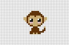 Monkey Pixel Art Melty Bead Patterns, Perler Patterns, Loom Patterns, Mini Cross Stitch, Cross Stitch Alphabet, Cross Stitch Animals, Graph Paper Art, Pixel Art Animals, Cross Stitch Patterns