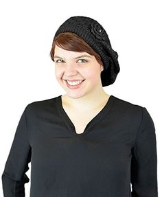022f373b3c217 Belle Donne - Women s Mesh Crocheted Accented Stretch Beret Hat- Black 4081  Belle Donne http