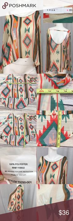 🌷Sz Medium Lush Sheer Aztec Hi/ Low Open Back Top Measurements are in photos. Normal wash wear, a few runs, no other flaws. D2/27  I do not comment to my buyers after purchases, due to their privacy. If you would like any reassurance after your purchase that I did receive your order, please feel free to comment on the listing and I will promptly respond. I ship everyday and I always package safely. Thanks! Lush Tops