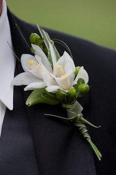 Mini cymbidium orchid Bouttoniere and green berries