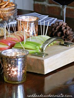 """Very cute DIY """"Cheese & Apple Butcher Block Tray"""" made with rustic handles in a few minutes! You could do this with any cutting board. Apples And Cheese, Cute Diys, Tablescapes, Cutting Board, How To Memorize Things, Tray, Entertaining, Rustic, Table Decorations"""