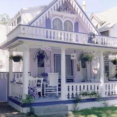 not my colors but cute cottage Lovely Lavender Cottage & Porch Lavender Cottage, Cute Cottage, Cottage Style, Romantic Cottage, Little Cottages, Cabins And Cottages, Beach Cottages, Tyni House, Cute House
