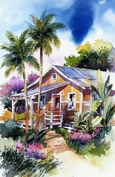 Southern Watercolor Artists Tropical and Southern California Watercolor Surf Art - Bill Drysdale . Watercolor Landscape Paintings, Watercolor Drawing, Watercolor Artists, Watercolor Techniques, Hawaiian Art, Tropical Art, Surf Art, Art Themes, Beautiful Paintings