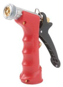 """Gilmour 572TFR Commercial Insulated Grip Nozzle with Threaded Front, Red by Gilmour. $8.96. Insulated molded grip for spraying hot or cold water. Male hose threaded front for attaching accessories. Contains lead. Brass head insert for maximum resistance to extremely hot water. Made in China. From the Manufacturer                Quality built Gilmour pistol grip nozzles are available in a variety of designs to meet consumer needs. Key features include self-adjusting """"duck"""" packin..."""