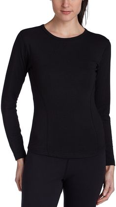 fbffbaac68d Duofold Women's Expedition Weight Two-Layer Thermal, Black, Small: Heading  out in extreme cold? Wear this thermal shirt to stay warm and dry, ...
