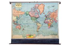 Vintage Cram's Pull Down Map of the World - Old New House