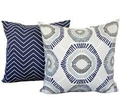 Two lndigo Blue pillow covers,  Home decor, decorative pillow, throw pillow, Medallion pillow, Navy pillow, Blue Pillow, Zig zag pillow by ThatDutchGirlPillows on Etsy