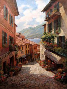 The Art of Paul Guy Gantner --------------- Lake Como Italian Village