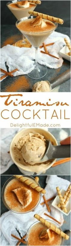 Tiramisu Cocktail will be right up your alley! Made with just 3 simple ingredients, this delicious dessert cocktail is the perfect drink to enjoy anytime you're in the mood for something creamy and sweet! Party Drinks, Fun Drinks, Yummy Drinks, Delicious Desserts, Dessert Recipes, Refreshing Drinks, Beverages, Dinner Recipes, Cocktail Desserts