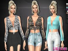The Sims Resource: 312 - Top With Bow by sims2fanbg • Sims 4 Downloads