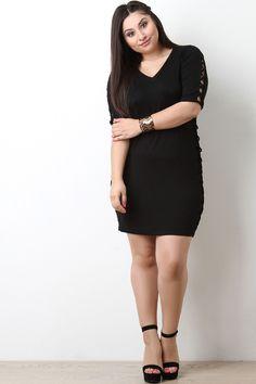 Plus Size Lattice Side Caged Bodycon Dress
