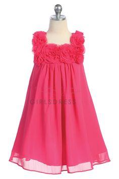 Fuchsia color Chiffon Short Flower Girl Dress CC-611-FU $45.95 on www.GirlsDressLine.Com