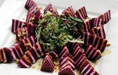 Wedding Catering Menus by Wolfgang Puck? Herbed goat cheese and beet Napoleon