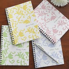 Floral Damask Personalized Mini Notebook Set