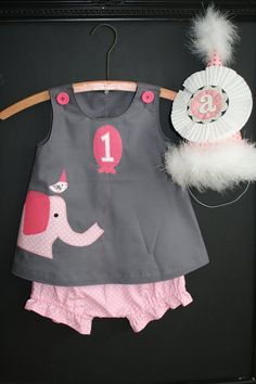 Pink Elephant Ellie and Friend First Birthday Circus Dress and Bloomer Pink Elephant Birthday party outfit party-hardy, except white & light pink! Elephant Party, Elephant Birthday, Baby 1st Birthday, Pink Elephant, Friend Birthday, Birthday Bash, Birthday Wishes, Giraffe, Birthday Parties