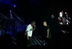 Photo of Justin Bieber and Travis Scott onstage tonight at the Wireless Festival in Frankfurt, Germany.