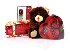 Valentine's Day Box of Chocolate, Spa Treatment, Glass Rose Keepsake and Teddy Bear Gift * See this great product.