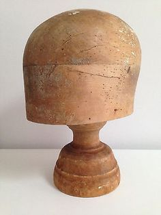 Vintage Milliner's Wooden Hat Block & Stand - Millinery - Wig Stand - Hat Stand
