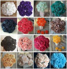 50pcs Artificial Foam Flowers Foam Roses For Wedding Arrangement Bridal Bouquet  #Fashion_love2012