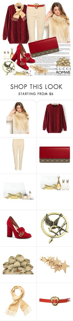 """""""Romwe sweater"""" by irinavsl ❤ liked on Polyvore featuring Closed, Gucci, Christian Dior, Yves Saint Laurent and ESCADA"""