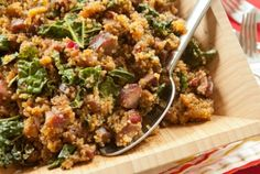 """Sausage and Quinoa One-Pot Supper // The """"good-for-you"""" grain is cooked in cider with smoked sausage, dried cranberries and hearty greens : )"""