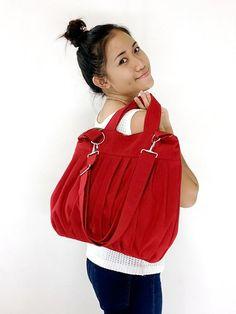SALE - 10%off Handmade Cotton bag Canvas Bag Diaper bag Shoulder bag Hobo bag Tote bag Messenger Purse Everyday bag - Red - Martha