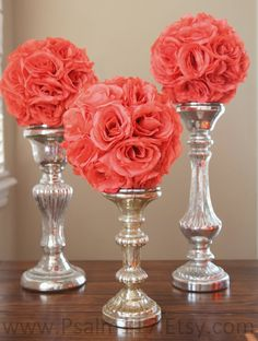 3 - 8 inch wide - CORAL - wedding pomandershttp://pinterest.com/pin/75576099969410328/