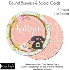 Round Business Cards, Round Social Cards, Katlyn Card, 3 Inch Round Business Cards, Hang Tags, Product Tags, Package Inserts, Circle Card