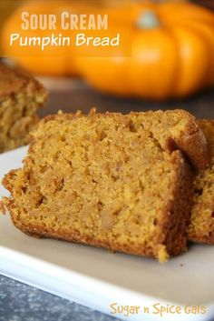 Daisy Sour Cream makes this amazing pumpkin bread especially moist and delicious! Sponsored by Daisy Sour CreamUsing Daisy Sour Cream makes this amazing pumpkin bread especially moist and delicious! Sponsored by Daisy Sour Cream Köstliche Desserts, Dessert Recipes, Sour Cream Desserts, Recipes Using Sour Cream, Fall Recipes, Holiday Recipes, Daisy Sour Cream, Sour Cream Cake, Sour Cream Uses