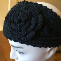 Crochet headband/ear warmer Headband  Crochet, soft, stretchy with crochet flower, two buttons for adjustable fit. H.B. Vidai Accessories Hats