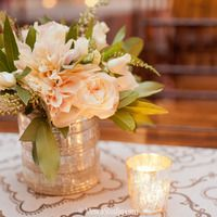 PERFECT flowers and vase and candles for the tables.