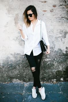 91b6278939 effortless weekend style with classic black   white pieces via For All  Things Lovely