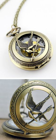 OMG I WANT THIS!!!!! please someone get it for my birthday! Mocking Jay Pocket Watch Necklace