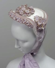 Bonnet 1867, American, Made of straw, silk and velvet