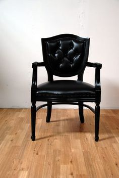 Black Tufted Vinyl On Black Antique French Louis by metrosofa, $699.00