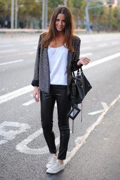 Leather pants and chucks!